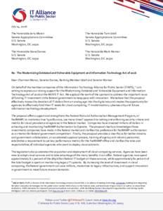 July 14, 2016 The Honorable Jerry Moran Senate Appropriations Committee U.S. Senate Washington, DC 20510