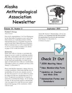Alaska Anthropological Association Newsletter Volume 33, Number 2 President's Message
