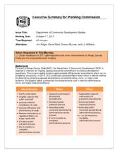 Executive Summary for Planning Commission  Issue Title: Department of Community Development Update