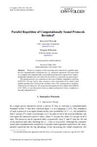 J. Cryptol: 116–135 DOI: s00145x Parallel Repetition of Computationally Sound Protocols Revisited∗ Krzysztof Pietrzak