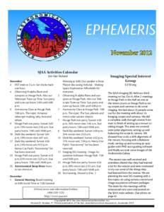 EPHEMERIS November 2012 SJAA Activities Calendar Jim Van Nuland  November