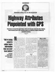 GOVERNMENT TECHNOLOGY  BRINGING SATELLITES TO THE BLACKTOP Highway Anributes Pinpointed with GPS