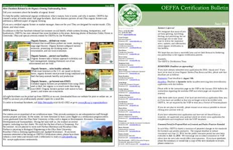 OEFFA Certification Bulletin  OEFFA Certification Bulletin June 2016