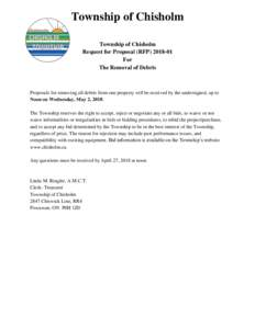 Township of Chisholm Township of Chisholm Request for Proposal (RFPFor The Removal of Debris
