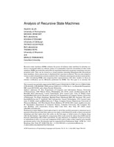 Analysis of Recursive State Machines RAJEEV ALUR University of Pennsylvania MICHAEL BENEDIKT Bell Laboratories KOUSHA ETESSAMI