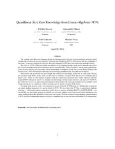 Quasilinear-Size Zero Knowledge from Linear-Algebraic PCPs Eli Ben-Sasson Alessandro Chiesa