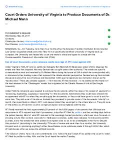 Court Orders University of Virginia to Produce Documents of Dr. Michael Mann