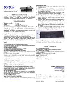 1i & Dsi Rollable Solar Charger for Iridium Satellite Phones OPERATING INSTRUCTIONS  SōlStarTM Rollable Solar Chargers are made with patented