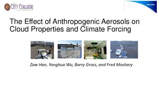The Effect of Anthropogenic Aerosols on Cloud Properties and Climate Forcing Zaw Han, Yonghua Wu, Barry Gross, and Fred Moshary  Motivation