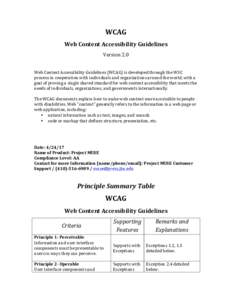 WCAG	 Web	Content	Accessibility	Guidelines	 Version	2.0 Web	Content	Accessibility	Guidelines	(WCAG)	is	developed	through	the	W3C