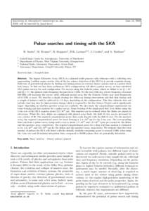 Astronomy & Astrophysics manuscript no. ska (DOI: will be inserted by hand later) June 13, 2008  Pulsar searches and timing with the SKA