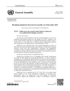 A/RESUnited Nations Distr.: General 18 February 2016