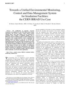 1  RADECS 2017 Towards a Unified Environmental Monitoring, Control and Data Management System