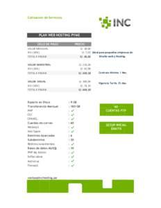 Cotización de Servicios  PLAN WEB HOSTING PYME CICLO DE PAGO  PRECIO