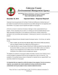 Calaveras County Environmental Management Agency Jason Boetzer ♦ Agency Administrator / Director of Environmental Health 891 Mountain Ranch Road, San Andreas, CAPhone: Fax: