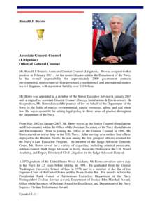 Ronald J. Borro  Associate General Counsel (Litigation) Office of General Counsel Mr. Ronald J. Borro is Associate General Counsel (Litigation). He was assigned to that