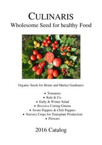 CULINARIS Wholesome Seed for healthy Food Organic Seeds for Home and Market Gardeners  Tomatoes  Kale & Co.