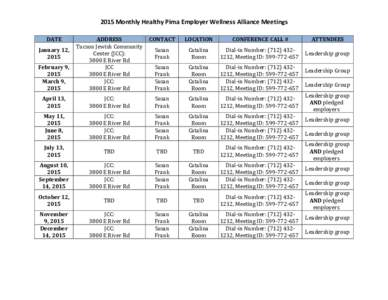 2015 Monthly Healthy Pima Employer Wellness Alliance Meetings DATE CONTACT  LOCATION