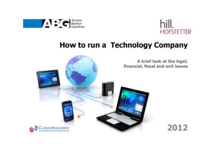How to Run a Technology Company – Legal, Financial, Fiscal and Exit Issues