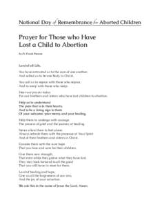 National Day of Remembrance for Aborted Children  Prayer for Those who Have Lost a Child to Abortion by Fr. Frank Pavone