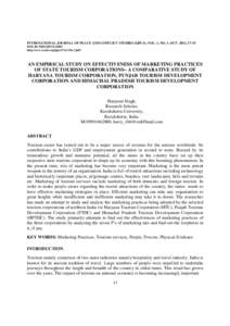 INTERNATIONAL JOURNAL OF PEACE AND CONFLICT STUDIES (IJPCS), VOL. 1, NO. 1, OCT. 2012, 17-35 DOI: RCMSS/IJPCShttp:/www.rcmss.org/ijpcs/Vol.1/No.1/pdf AN EMPIRICAL STUDY ON EFFECTIVENESS OF MARKETING PRACTICES OF S