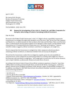 Aspartame consumption in relation to childhood brain tumor - Us federal trade commission bureau of consumer protection ...