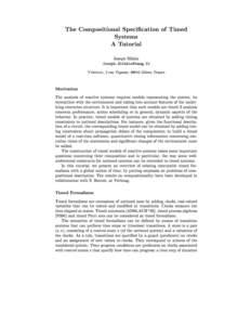 The Compositional Specication of Timed Systems A Tutorial Joseph Sifakis