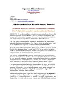 Department of Historic Resources www.dhr.virginia.gov For Immediate Release April 3, 2012 Contact: Randy Jones