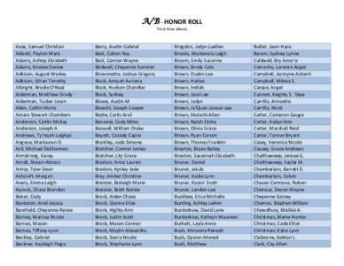 A/B – HONOR ROLL Third Nine Weeks Aase, Samuel Christian Abbott, Payton Mark Adams, Ashley Elizabeth