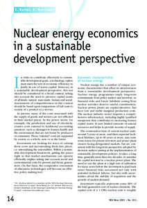 E. Bertel, R. Morrison*  Nuclear energy economics in a sustainable development perspective