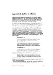 Appendix D Outline of reforms Defence Instruction (General) Administration 34-1, Inquiries into Matters affecting the Defence Force, was introduced on 22 August[removed]There was limited reference in it to inquiries other