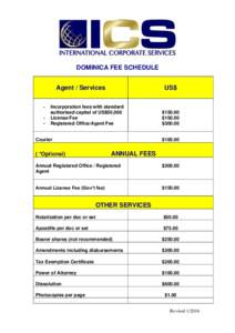DOMINICA FEE SCHEDULE Agent / Services - US$