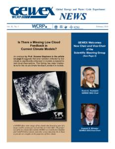 Global Energy and Water Cycle Experiment  NEWS Vol. 20, No. 1