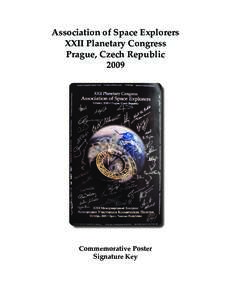 Association of Space Explorers XXII Planetary Congress Prague, Czech RepublicCommemorative Poster