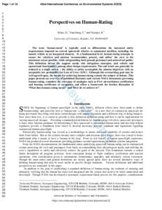 Page 1 of 10  Perspectives on Human-Rating Klaus, D.,1 Fanchiang, C.2 and Ocampo, R.3 University of Colorado, Boulder, CO,