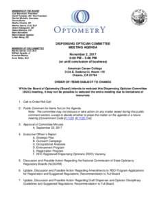 California State Board of Optometry - Meeting Agenda - November 2, 2017