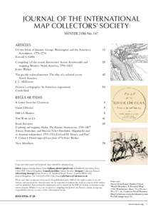 Journal of the International Map Collectors' Society winter 2016 No. 147 articles On the brink of disaster: George Washington and the American  Revolution, 1775–1776