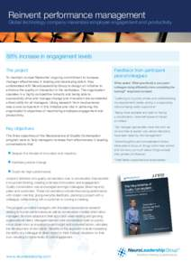 Reinvent performance management  Global technology company maximizes employee engagement and productivity 88% increase in engagement levels The project
