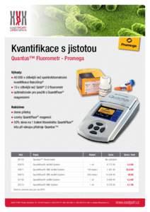 Kvantifikace s jistotou Quantus™ Fluorometr - Promega Výhody: ● x citlivější než spektrofotometrické kvantifikace NanoDrop® ● 10 x citlivější než Qubit® 2.0 fluorometr