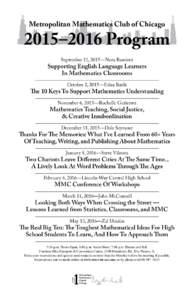 Metropolitan Mathematics Club of Chicago  2015–2016 Program September 11, 2015—Nora Ramirez  Supporting English Language Learners