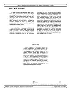 "NASA Apollo Lunar Module (LM) News Reference (1968)  ""ApolloNewsRef LM U.M15.PICT"" 239 KBdpi: 360h x 367v pix: 2719h x 3810v NASA Apollo Program Historical Information"
