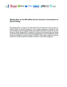 Institutional Investors Group on Climate Change  Briefing Paper on the 2018 Global Investor Statement to Governments on Climate Change  This Briefing Paper accompanies the 2018 Global Investor Statement to Governments on