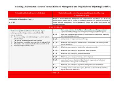 Learning Outcomes for Master in Human Resource Management and Organizational Psychology (MHRM) National Qualification Framework for Iceland Master in Human Resource Management and Organizational Psycology at Reykjavik Un