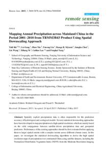 Mapping Annual Precipitation across Mainland China in the Period 2001–2010 from TRMM3B43 Product Using Spatial Downscaling Approach