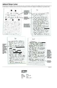 Ashland Sniper Letter The sniper left a written communication at three of the crime scenes: a tarot card Oct. 7 near Benjamin Tasker Middle School, a three-page letter Oct. 19 near the Ashland, Va., Ponderosa restaurant