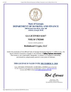 Georgia Seller of Payment Instruments and Money Transmitter License Certificate Retrieval Site