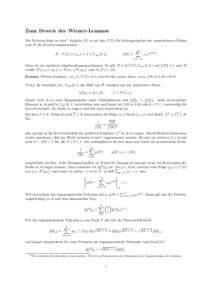 Zum Beweis des Wiener-Lemmas Die Notation folgt in etwa1 Aufgabe 2.5, es sei also `1 (Z) die Faltungsalgebra der summierbaren Folgen und F die Fouriertransformation F : `1 (Z) 3 (xn ) 7→ f ∈ Cper [0, 1],  ∞