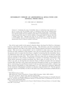 DIVISIBILITY THEORY OF ARITHMETICAL RINGS WITH ONE MINIMAL PRIME IDEAL ´ P. N. ANH AND M. F. SIDDOWAY Version 0.0