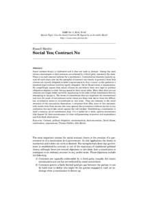 RMM Vol. 5, 2014, 79–92 Special Topic: Can the Social Contract Be Signed by an Invisible Hand? http://www.rmm-journal.de/ Russell Hardin