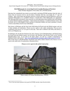 Brief Bibliography for researching French-Canadian Housing and Furniture